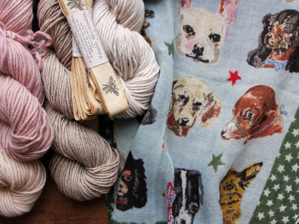 Jade Sapphire Zageo 6-ply cashmere, Monahan ribbons and Nathalie Lete Dog Scarf