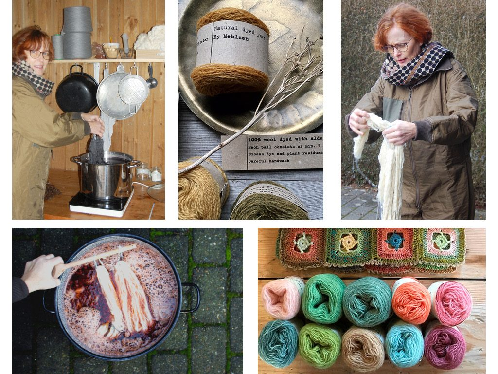 Mette Mehlsen dyeing her plant based yarns for Loop London