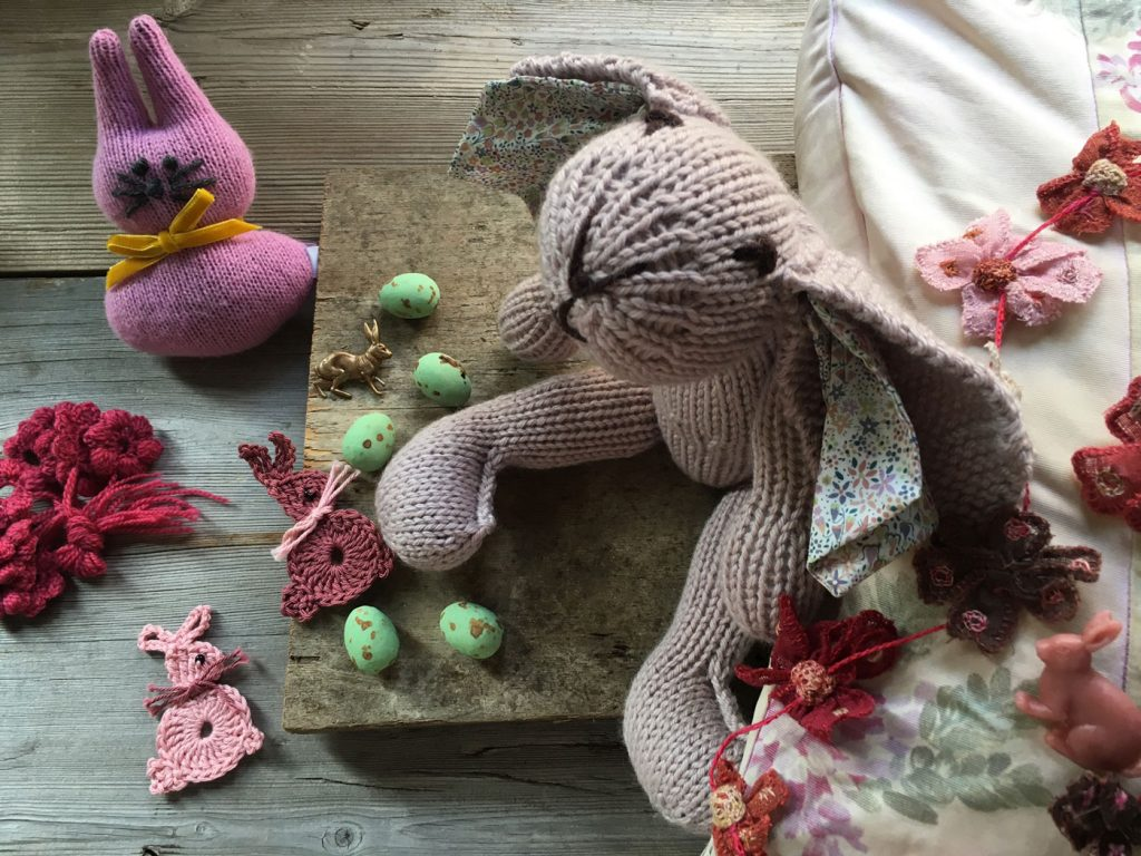 Catherine Tough bunnies, free crochet pattern bunnies and knitted bunny kit from Loop London