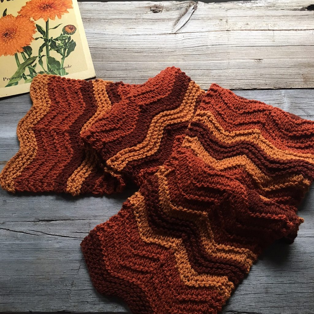 Grant Scarf free pattern in 3 shades of Stone Wool at Loop London
