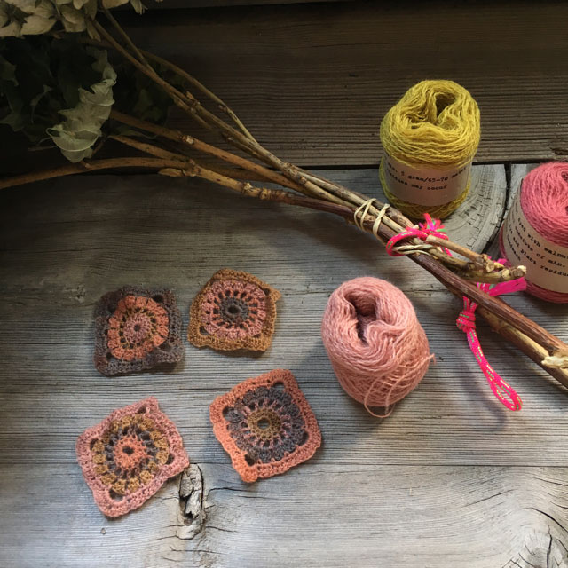 Yarn dyed with natural plants and crochet squares by Mette Mehlsen for Loop London