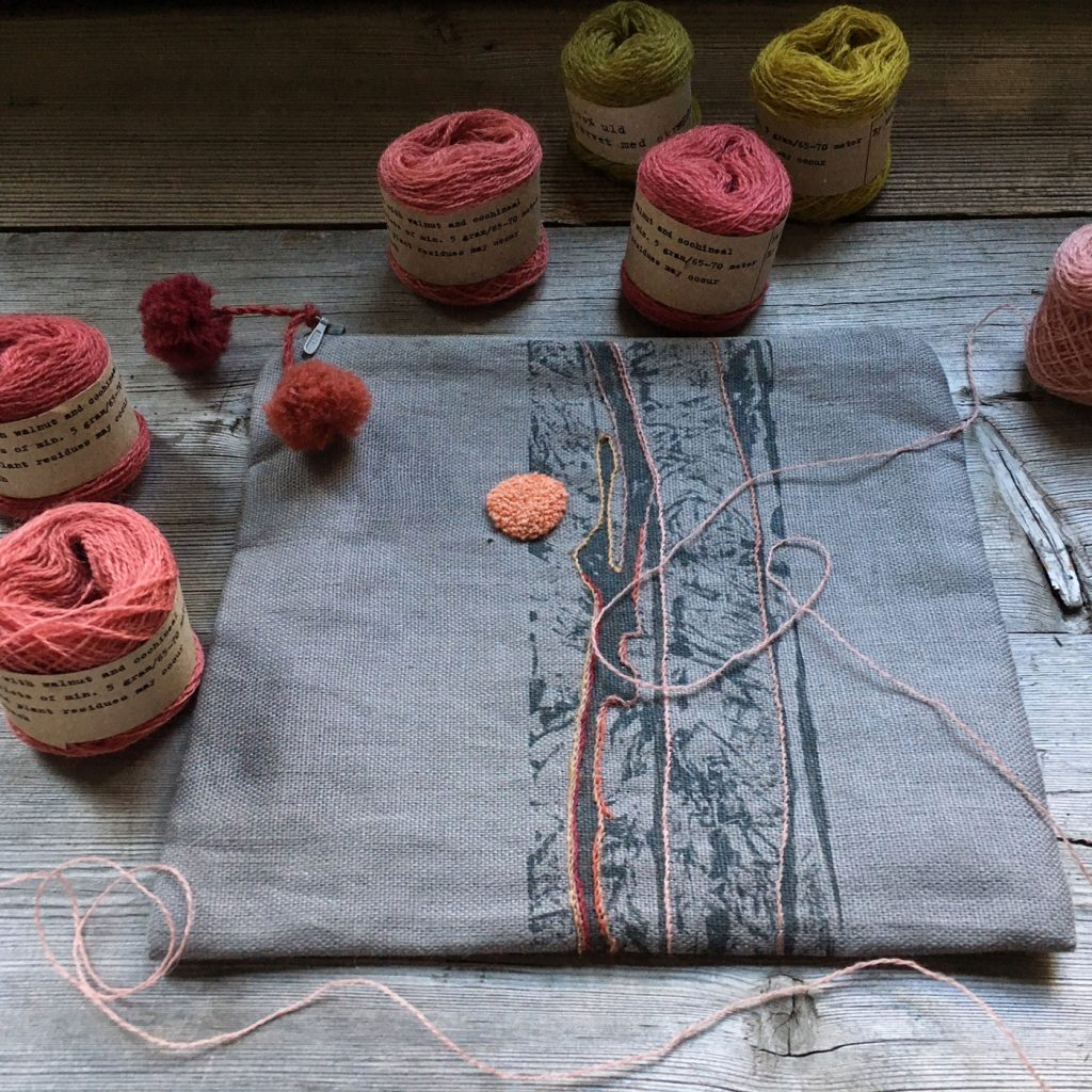 Embroidery with Mette Mehlsen's plant dyed yarns at Loop London.