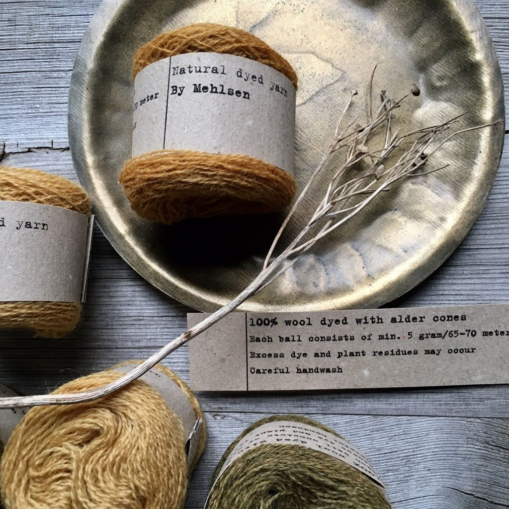 Yarn dyed with Alder cones by Mette Mehlsen for Loop London