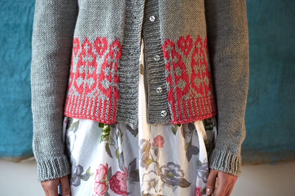 Spruce Cardigan colour work detail by Ella Austin at Loop London