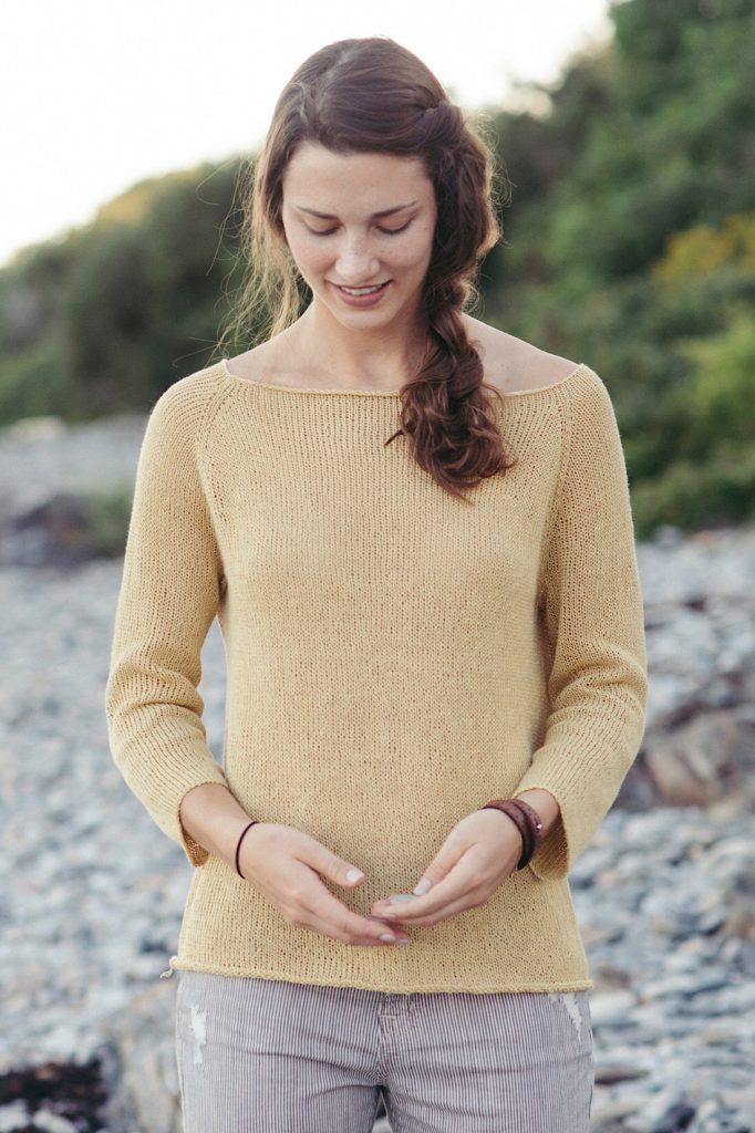 Long sleeve Tshirt made in Quince & Co Linen Sparrow at Loop London