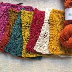 Dandelion yarn lace samples at Loop London