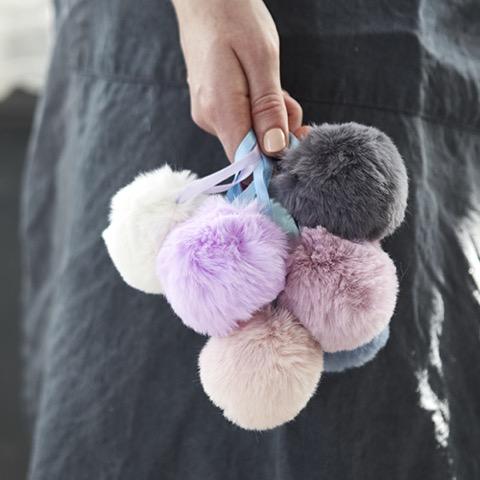 Mini Faux Fur Pom Poms at Loop London