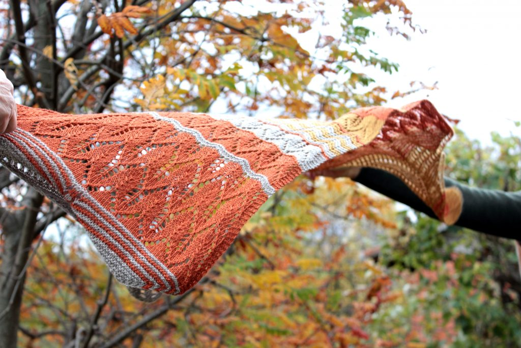 Knitting For Breakfast Sunset in Autumn shawl at Loop London