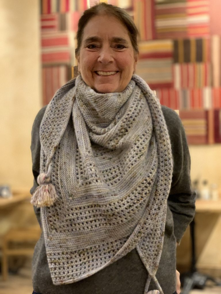 Lori Versaci wearing Triangulate shawl by LoopLondonLoves