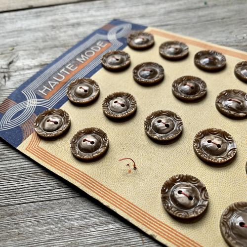 Brown detailed French Vintage Buttons at Loop London