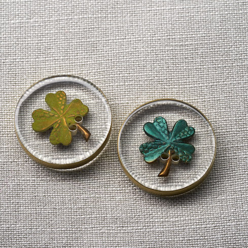 Resin Shamrock Button at Loop London