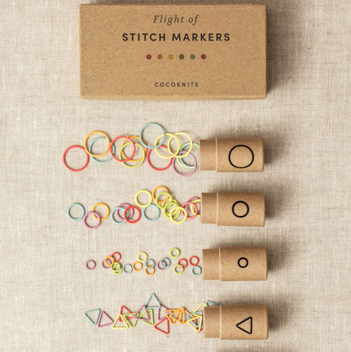Cocoknits flight of stitch markers at Loop London